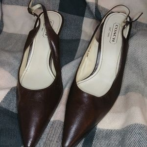 Coach Slingback Heels, Brown Leather, size 9
